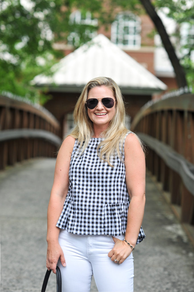 The perfect gingham top for summer. Paired with white jeans to create a great casual outfit.