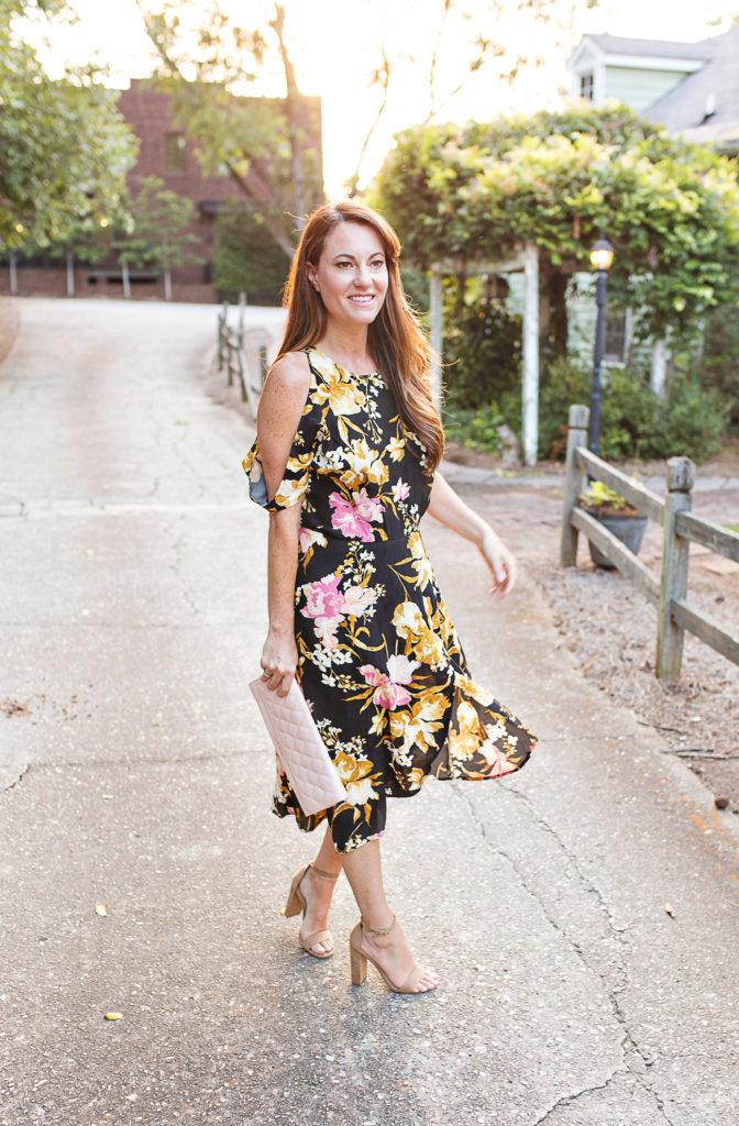 Cold shoulder floral print midi dress via Peaches In A Pod blog.