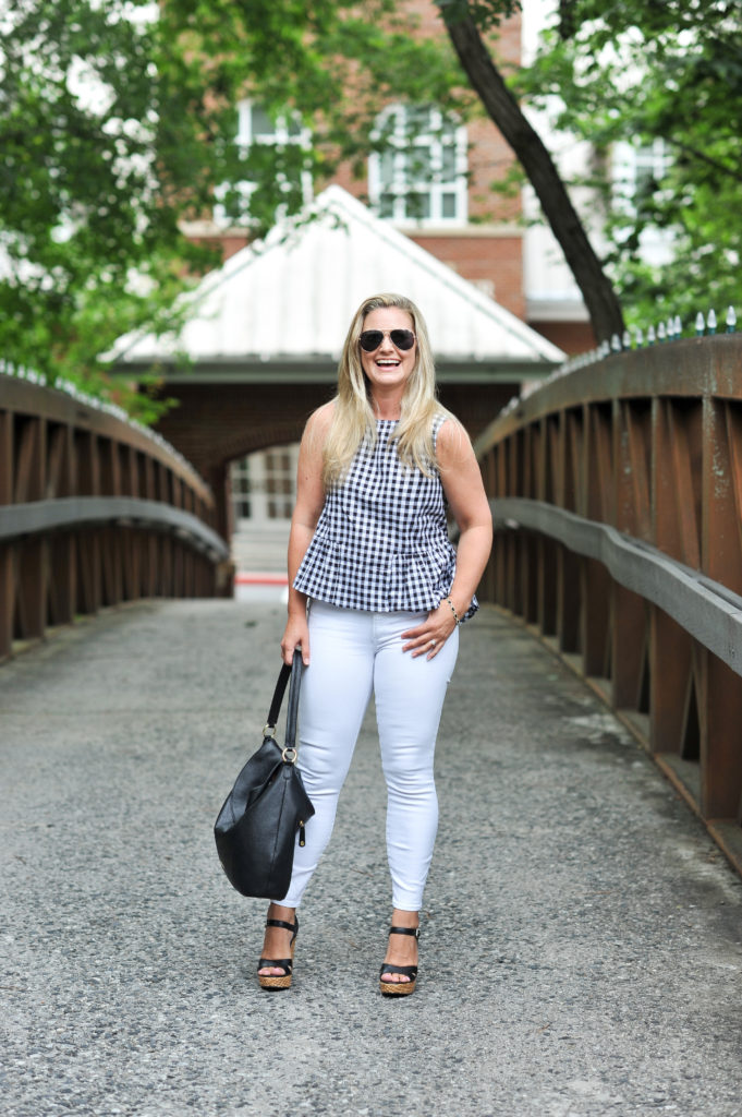 cute summer jeans outfit with white jeans and a black and white gingham top.