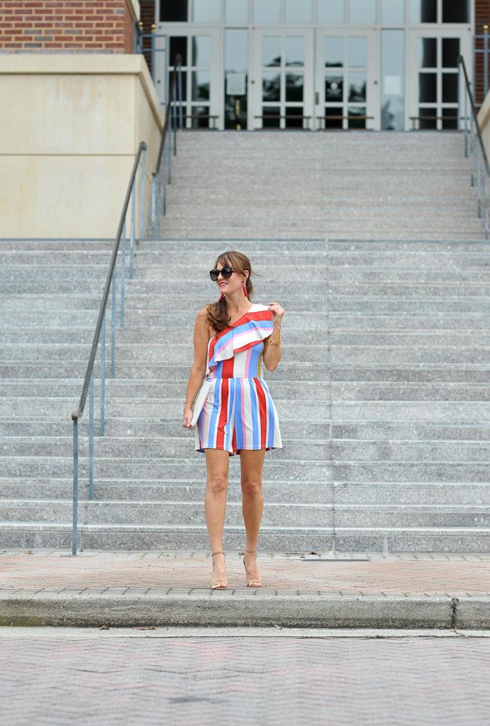 ASOS one shoulder romper in bold stripe via Peaches In A Pod blog.