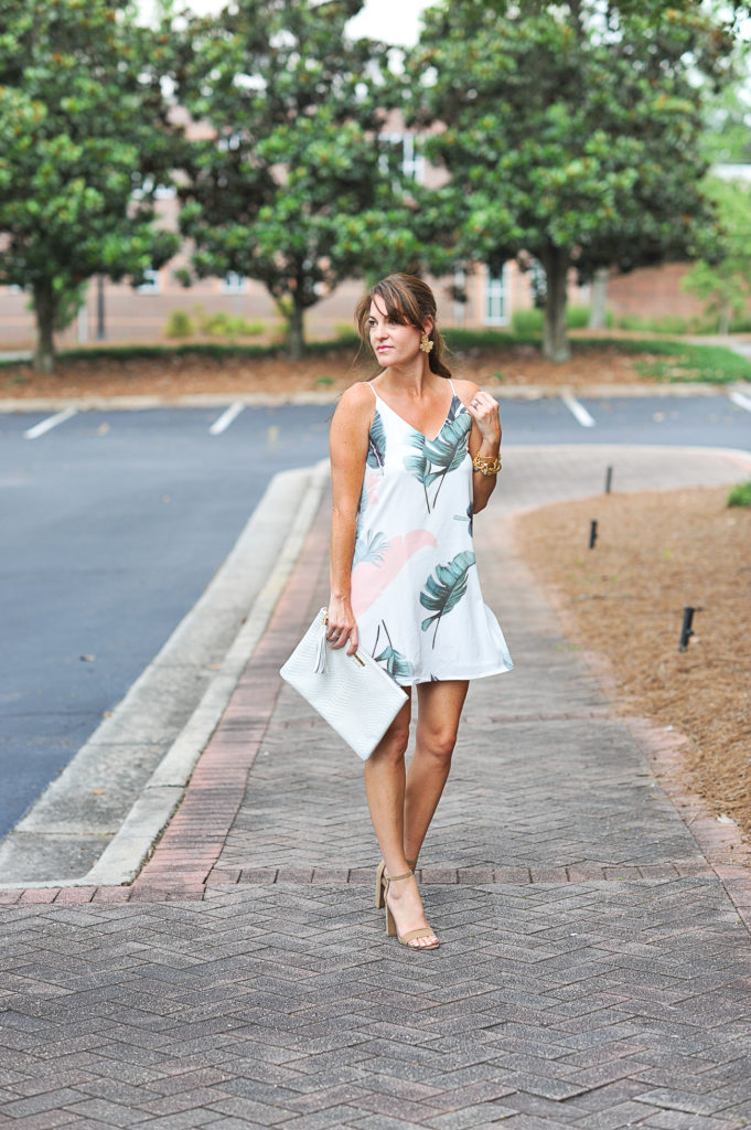 Pretty palm print dress via Peaches In A Pod blog.