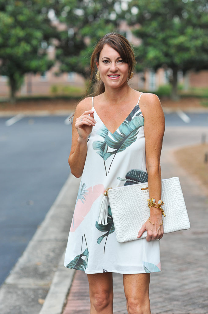 Palm print dress for summer via Peaches In A Pod blog.