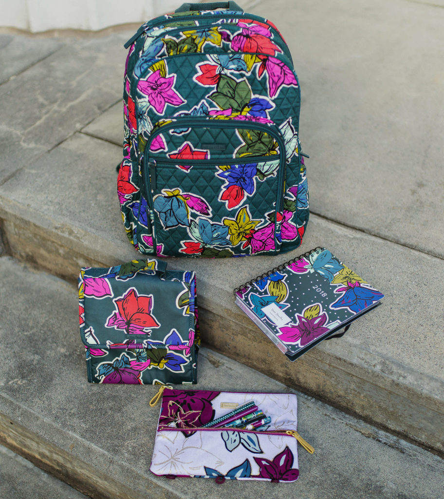 Vera Bradley Falling Flowers backpack, lunch sack, pencil pouch, and agenda via Peaches In A Pod blog.