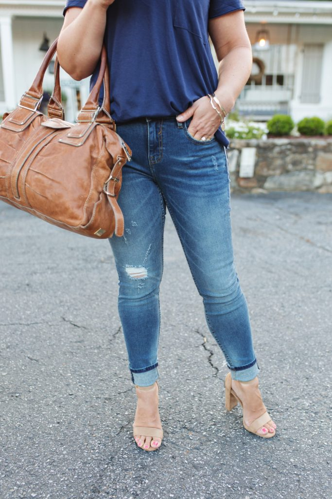 The perfect distressed petite jeans that are high waisted