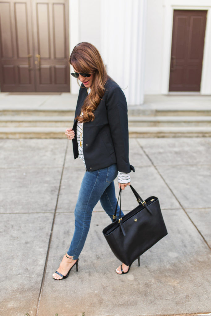 Black blazer outfit idea via Peaches In A pod blog.