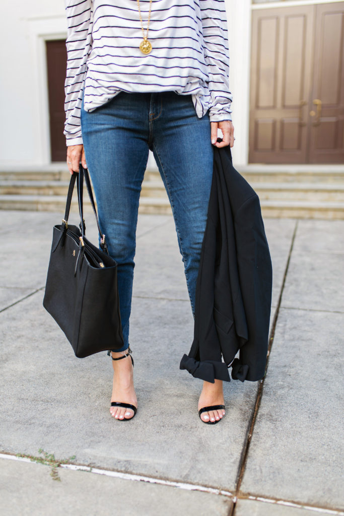 Cute tie sleeve black jacket via Peaches In A Pod blog.