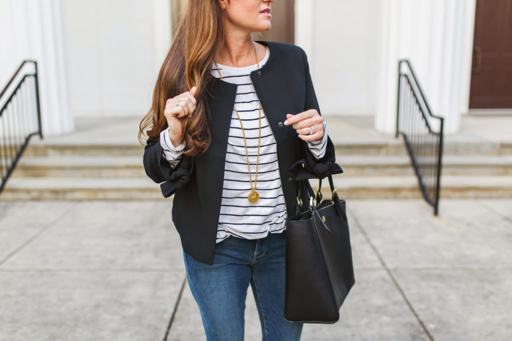 Banana Republic tie sleeve jacket via Peaches In A Pod blog. Layered black jacket for fall.