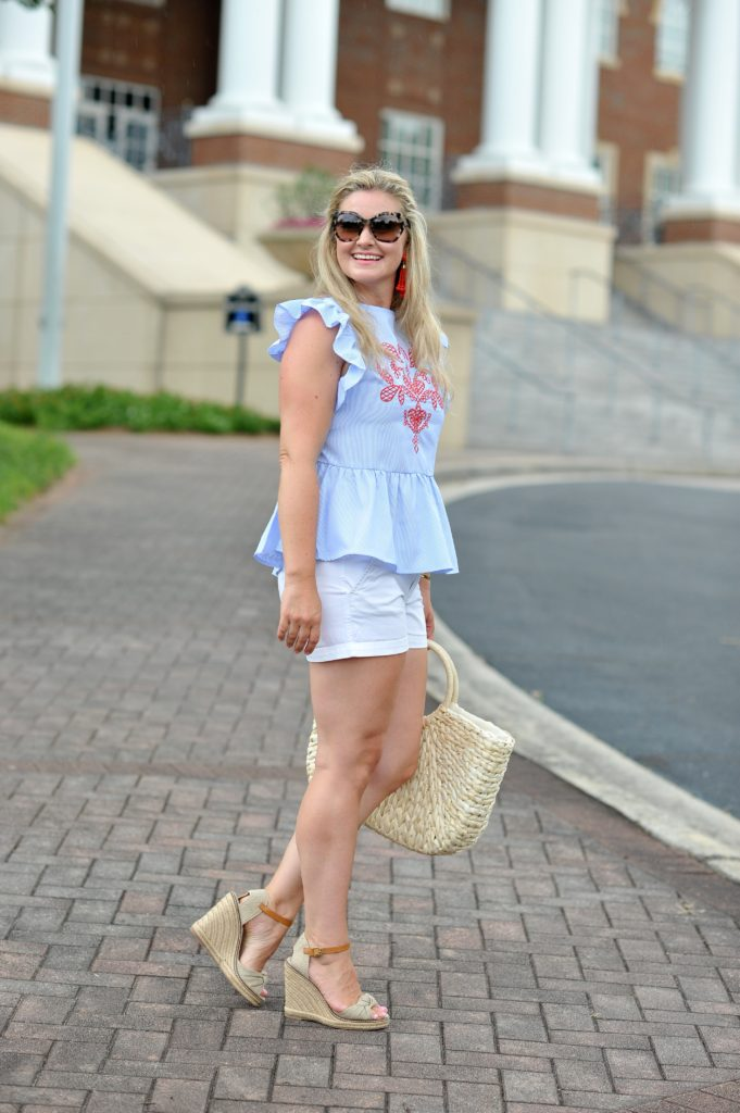 How to create a cute casual summer outfit with a striped top and white shorts.