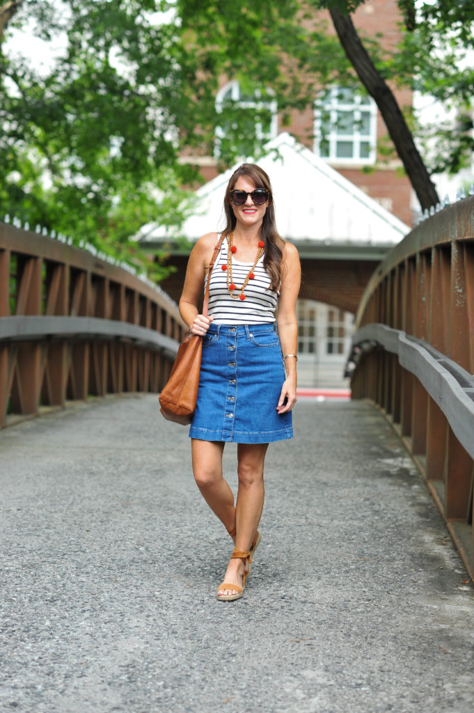 Styling a denim skirt via Peaches In A Pod blog.