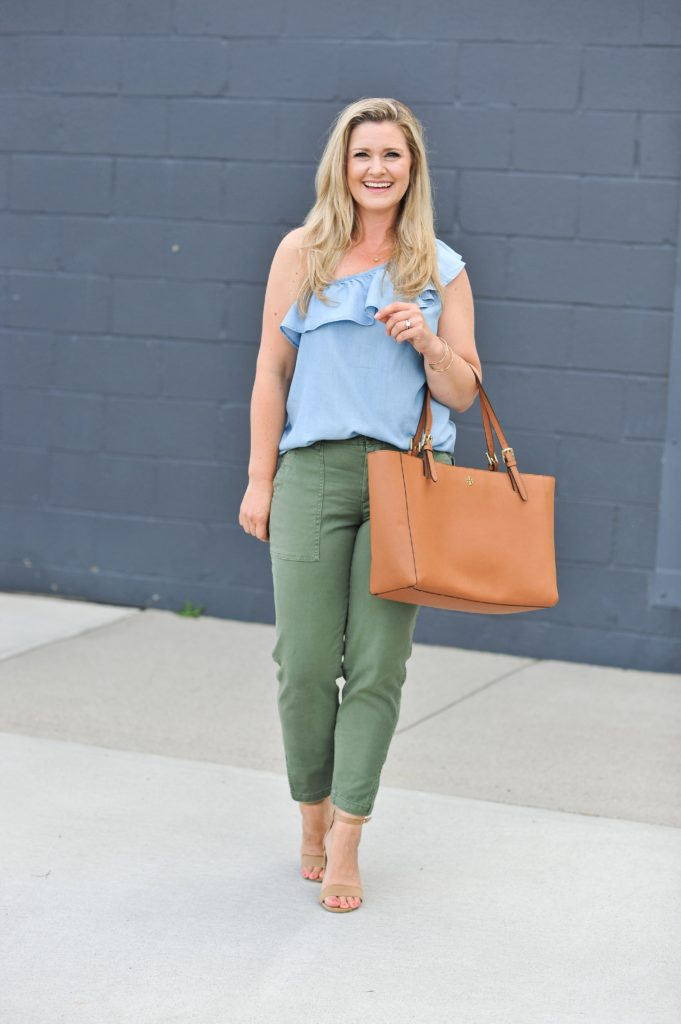 How to wear an off the shoulder top with pants for early fall