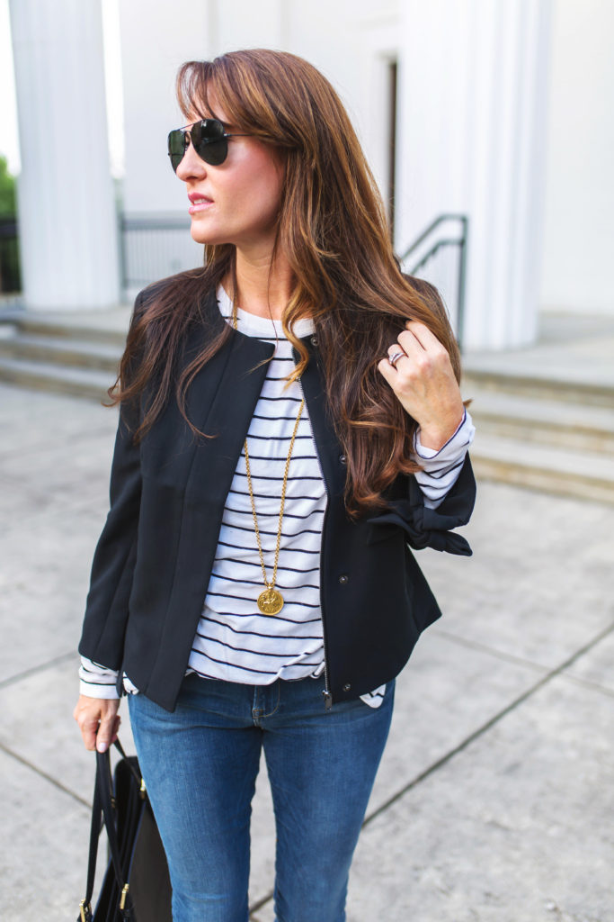Layering a black jacket for fall via Peaches In A Pod blog.