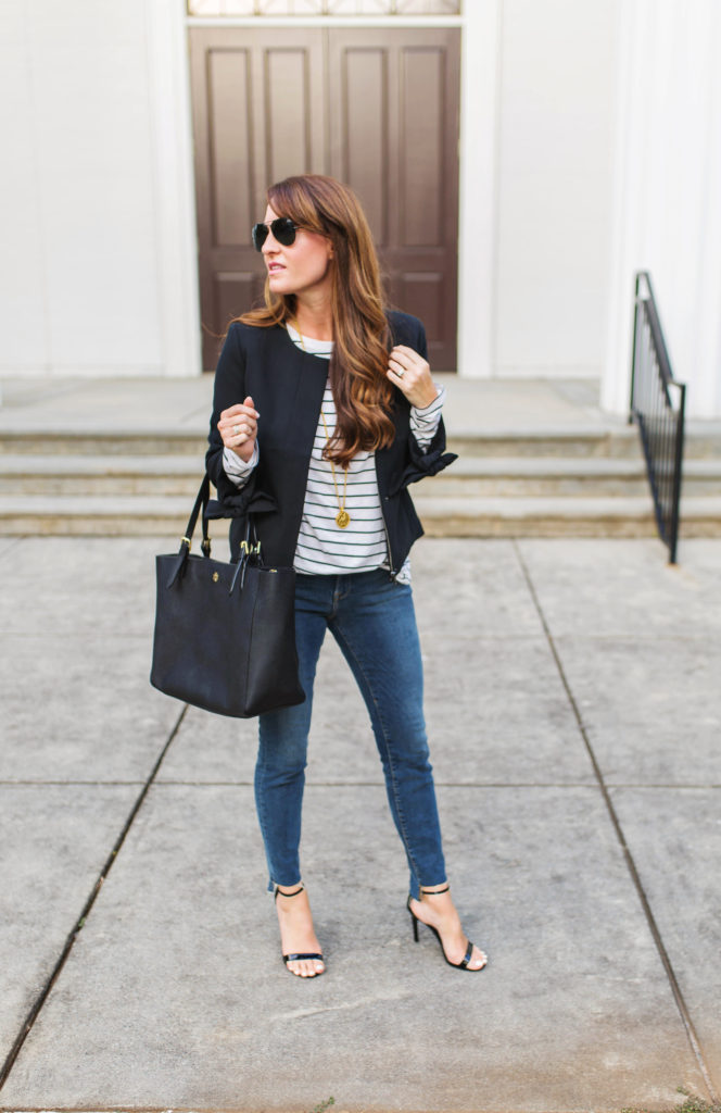 How to style a black blazer via Peaches In A Pod blog.