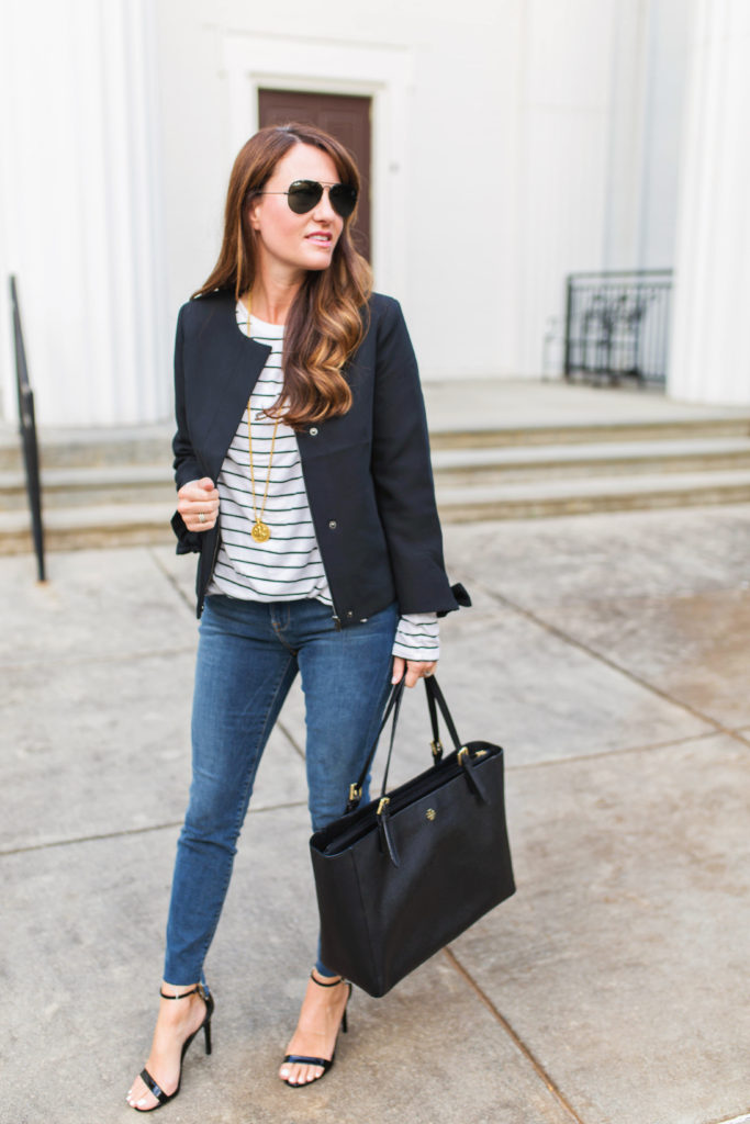 How to wear a black jacket via Peaches in A Pod blog. This Banana Republic tie sleeve jacket is so chic and stylish. It's the perfect wardrobe staple.