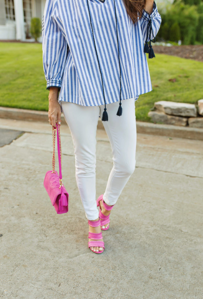 Striped embroidered top, pink handbag and sandals via Peaches In A pod. What to wear this summer .