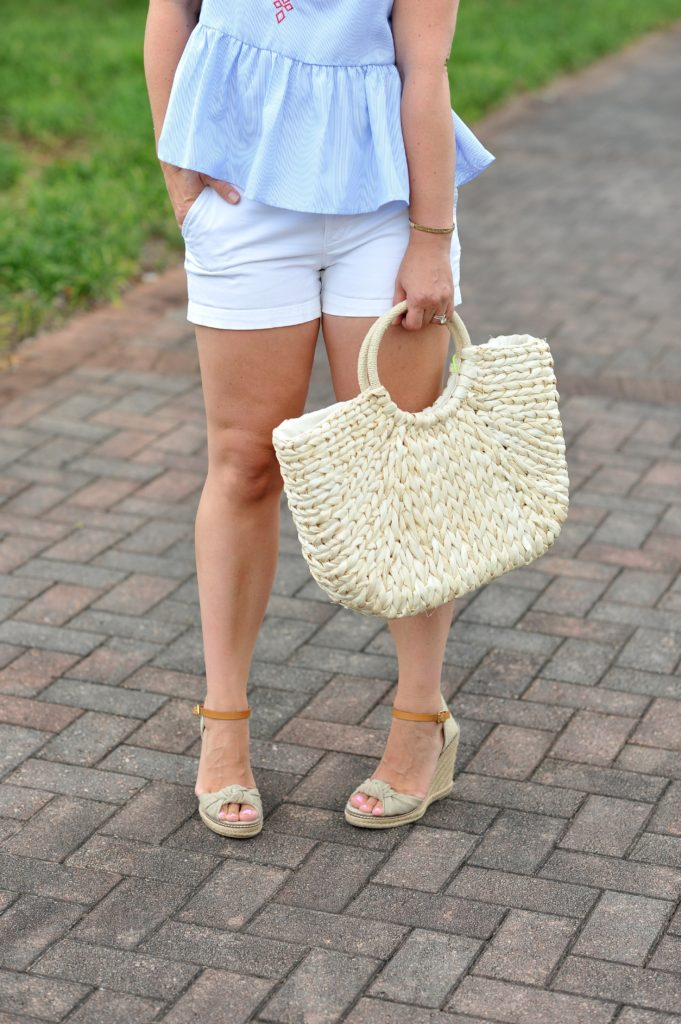 How to style a straw bag for summer.