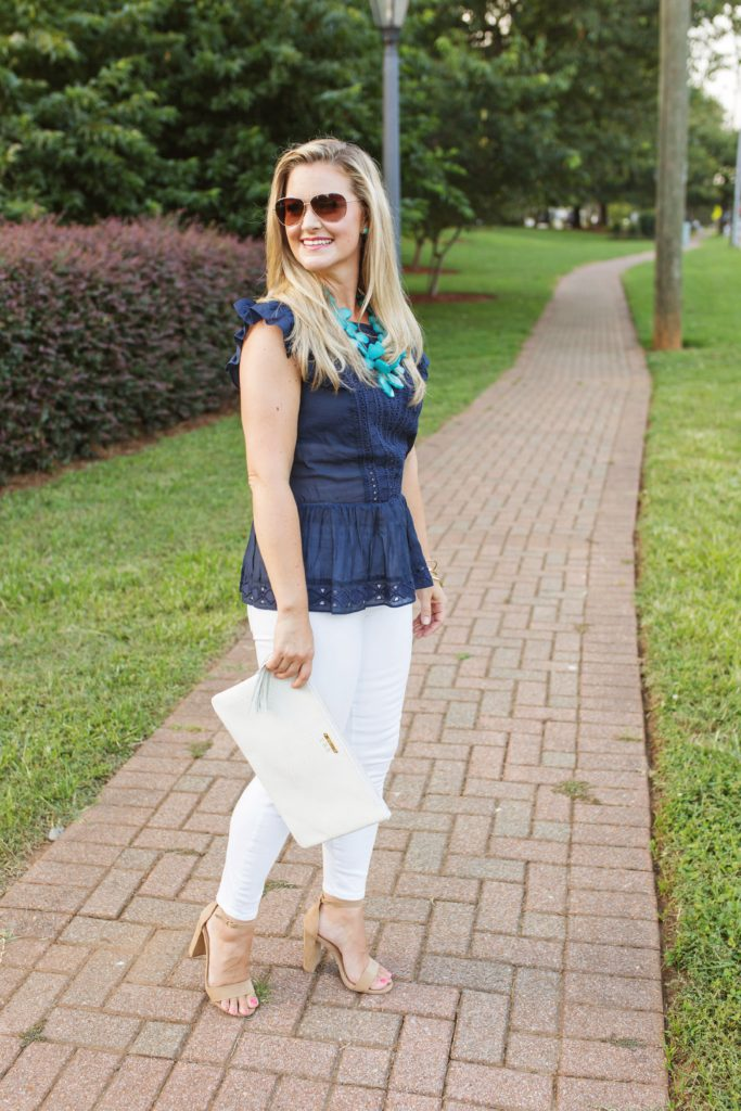 navy blue and white outfit that is perfect for the end of summer
