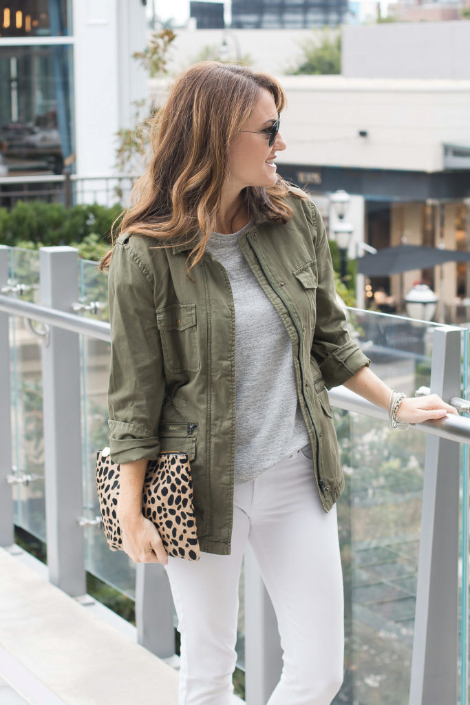 Military jacket outfit idea via Peaches In A Pod blog.