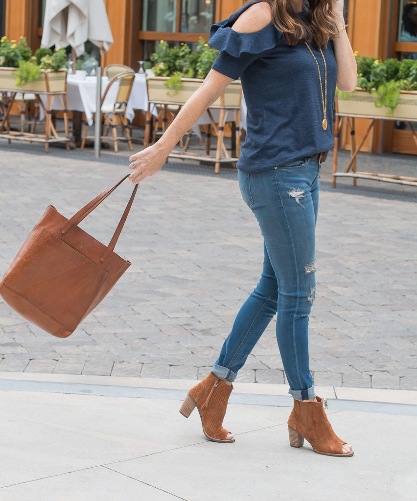 Cute fall outfit via Peaches In A pod blog. Madewll Transport Tote, brown peep toe ankle boots, and a cold shoulder top.
