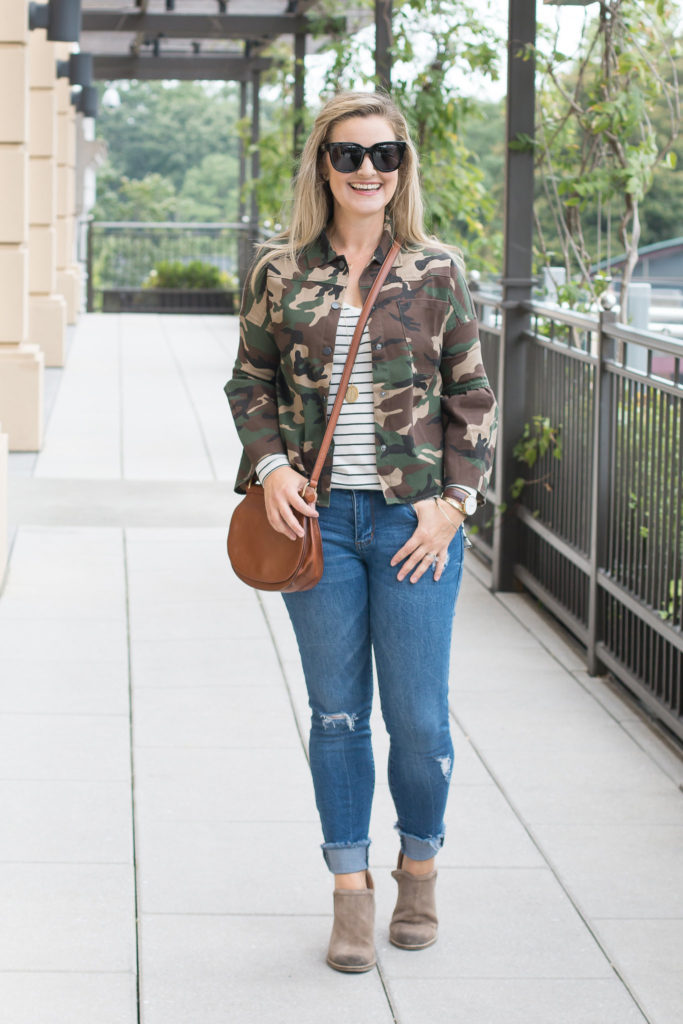 how to wear camouflage in the fall to create a great casual outfit.