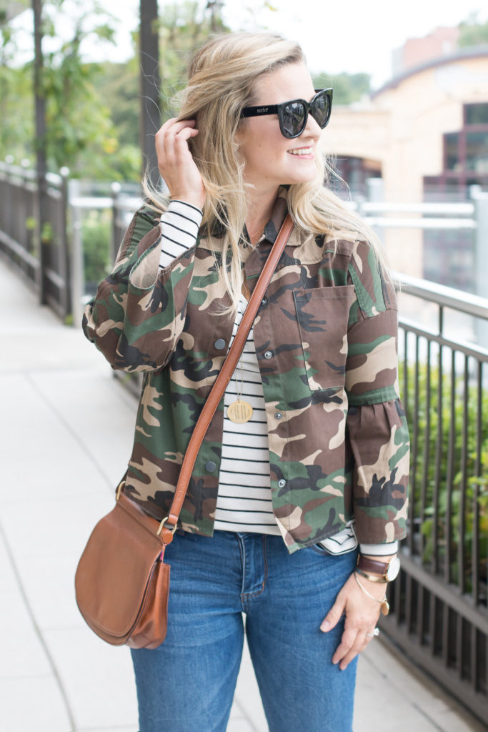 camouflage jacket with a striped shirt to create a great fall outfit. The perfect pattern mixing.