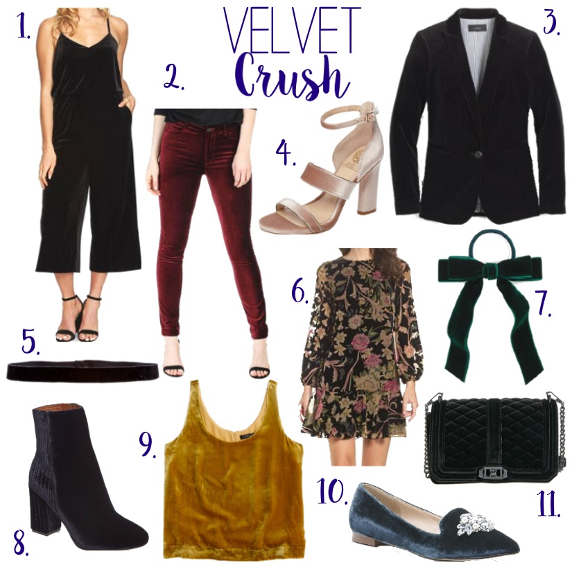 How to wear the velvet trend for fall. We are loving this luxurious trend for the current season including this gorgeous gold tank, velvet jumpsuit and ankle boots. Stop by to see our other picks.