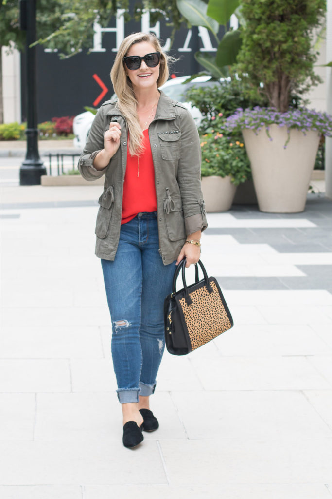 How to create an easy casual fall outfit with a red cami and a military jacket.