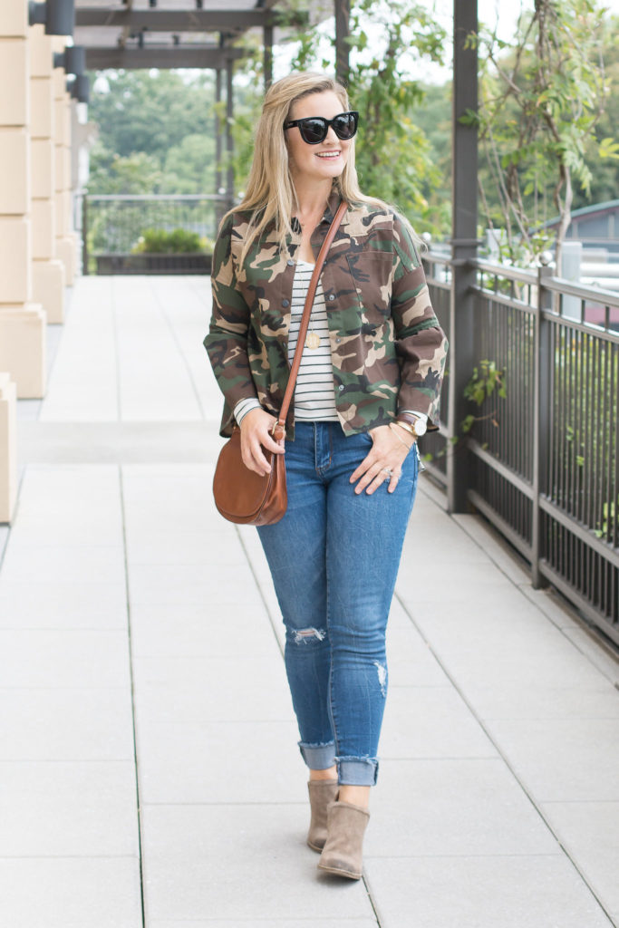 cute fall outfit with a camouflage jacket and a striped shirt.