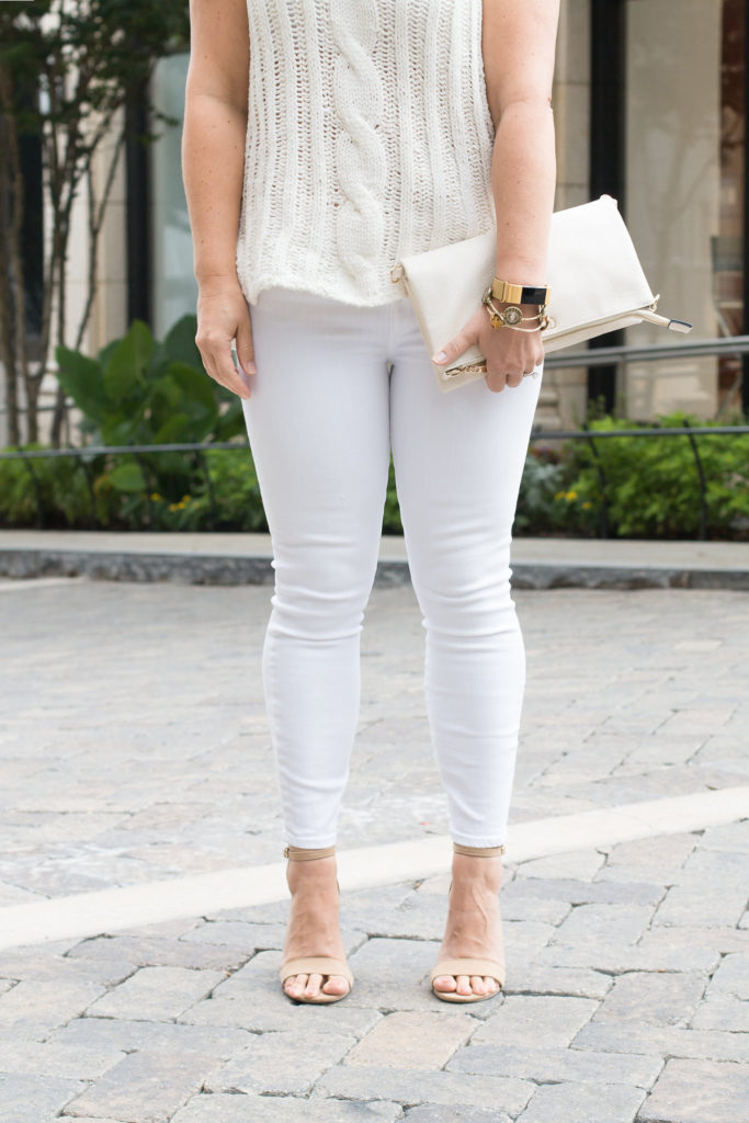 How to wear a white on white outfit for early fall.