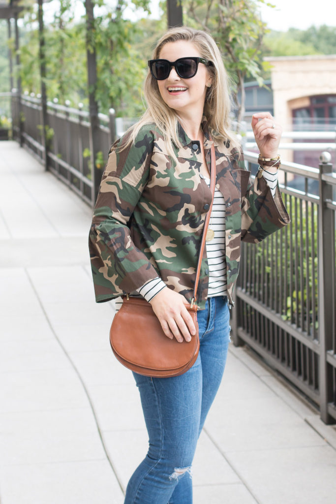 how to pattern mix with a striped shirt and a camouflage jacket. Perfect layering for fall.