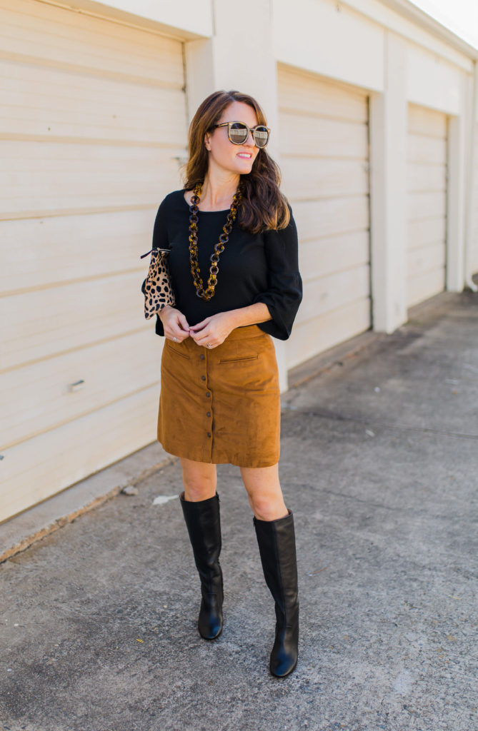 How to wear tall black boots via Peaches In A Pod blog. We love these classic tall boots by Banana Republic.