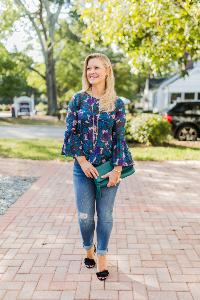 The perfect print top for fall with bell sleeves.
