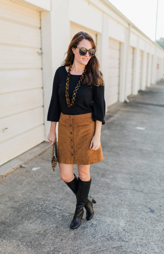 Styling Banana Republic Tall Black Block Heel Boots via Peaches In A Pod blog.