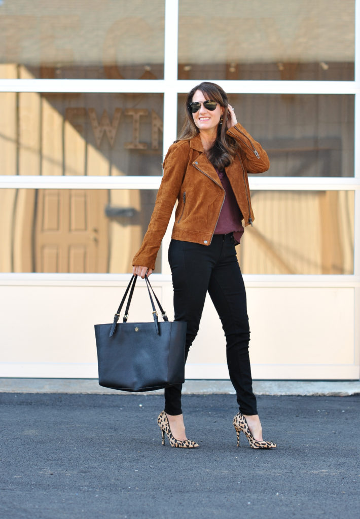 Blank NY Suede Moto Jacket via Peaches In A Pod blog.