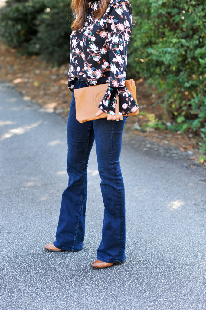Flare jeans for fall via Peaches In A Pod blog.