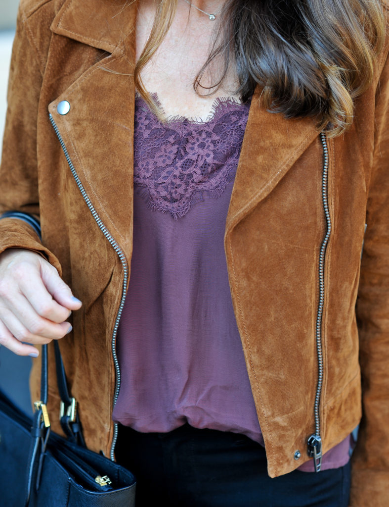 Burgundy lace cami styled with a suede moto jacket via Peaches In A Pod blog.