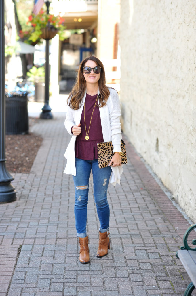 Teh perfect top for fall via Peaches In A Pod blog. This cute peplum top is perfect for fall and it comes in multiple colors.