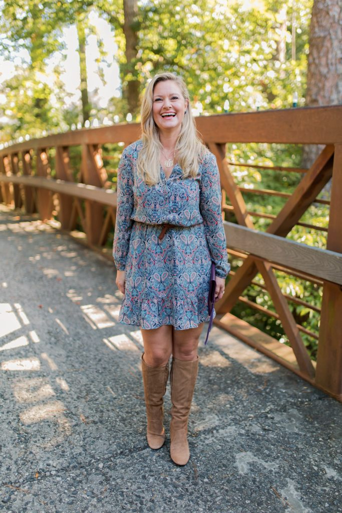 The perfect tan tall boots that can be worn with a dress for a great fall outfit.
