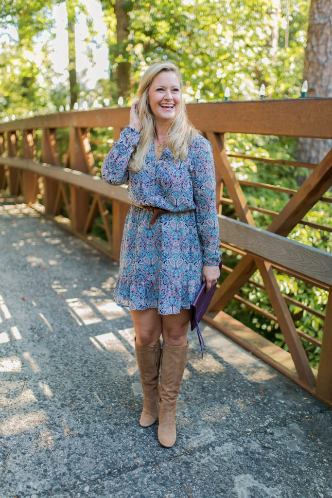 paisley print dress that is perfect with tall boots.