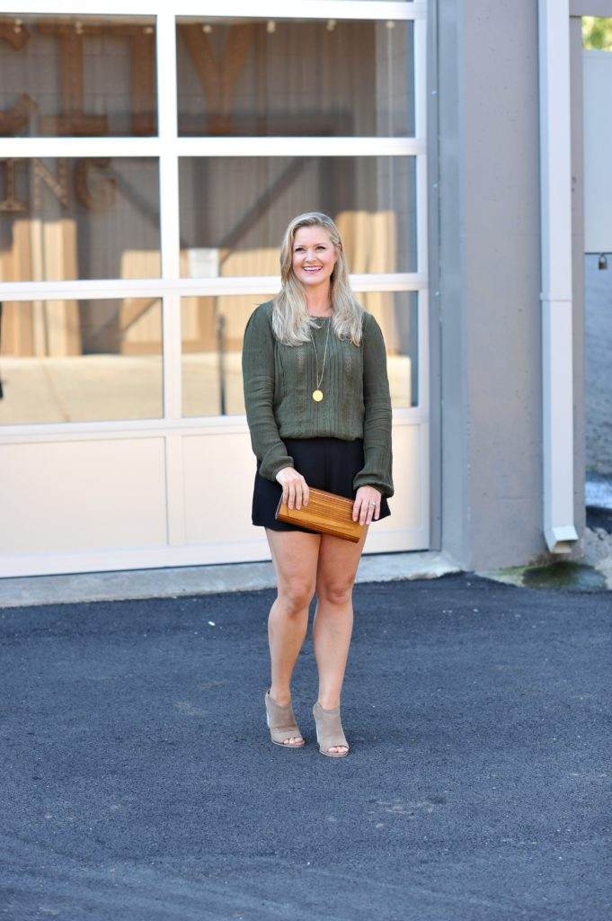 How to wear olive green and black together to create a great fall outfit.