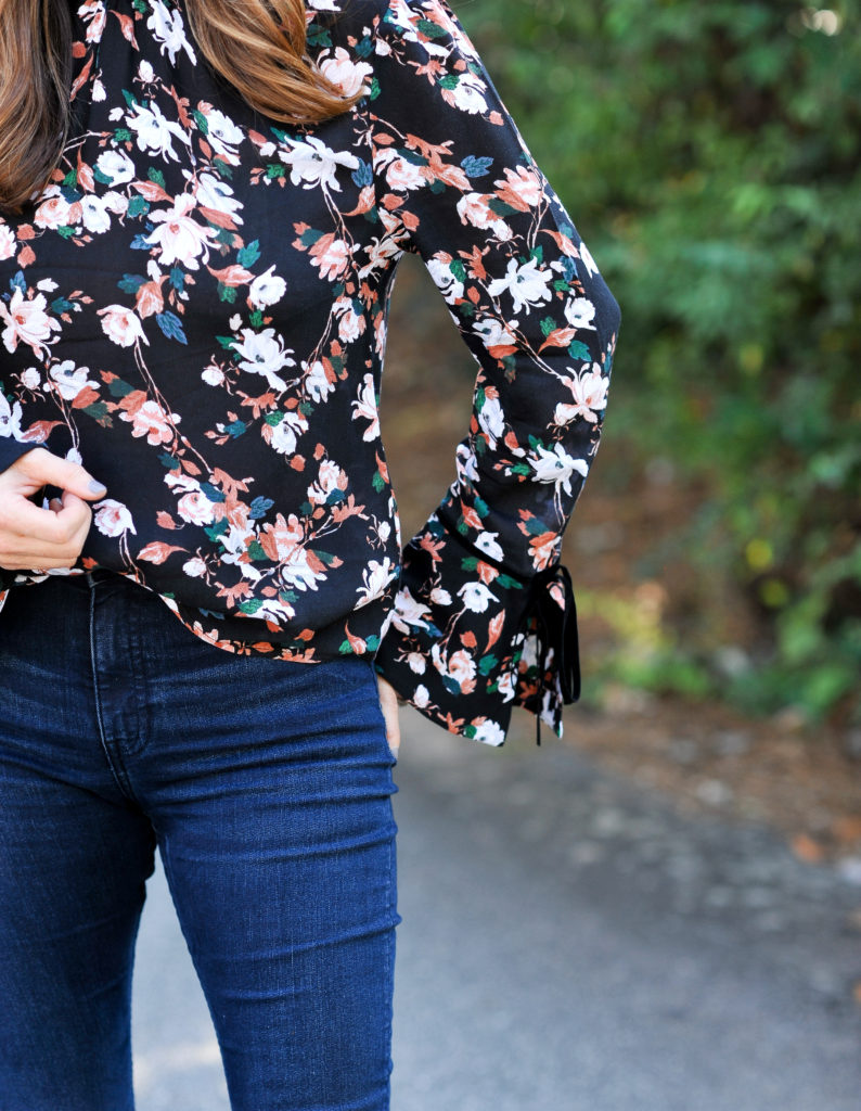 Floral print top with velvet bell sleeve detail via Peaches In A Pod blog.