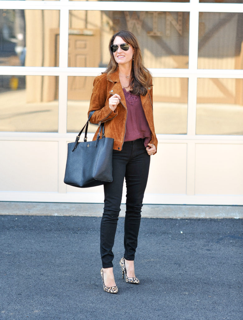 How to style a suede moto jacket for fall via Peaches In A Pod blog. Blank NYC Suede moto jacket , lace cami, and black denim.