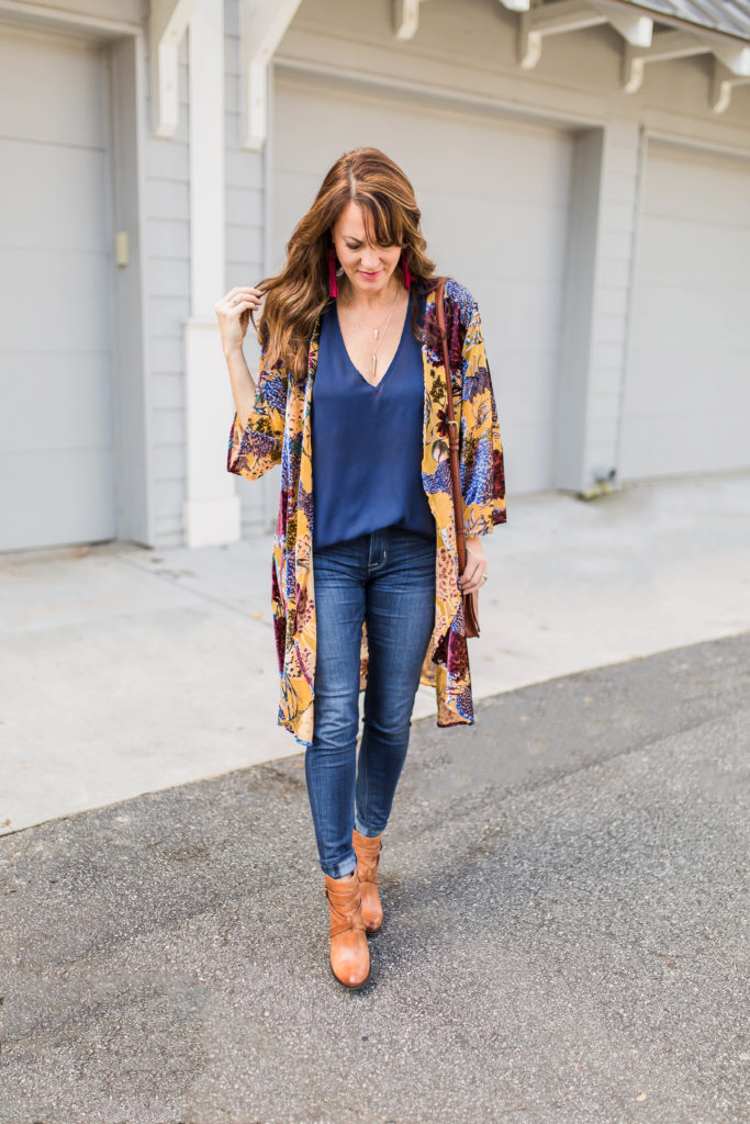 Anthropologie velvet floral kimono via Peaches In A Pod blog.