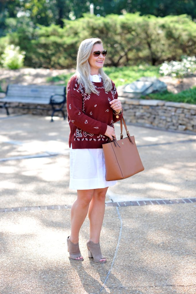 "Madewell red bandanna sweater layered with the perfect white shirt dress"" width="
