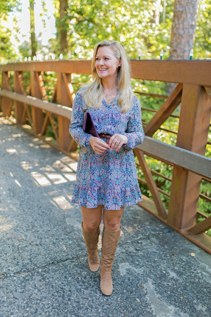 how to wear boots with a dress to create a great casual outfit for day or night.