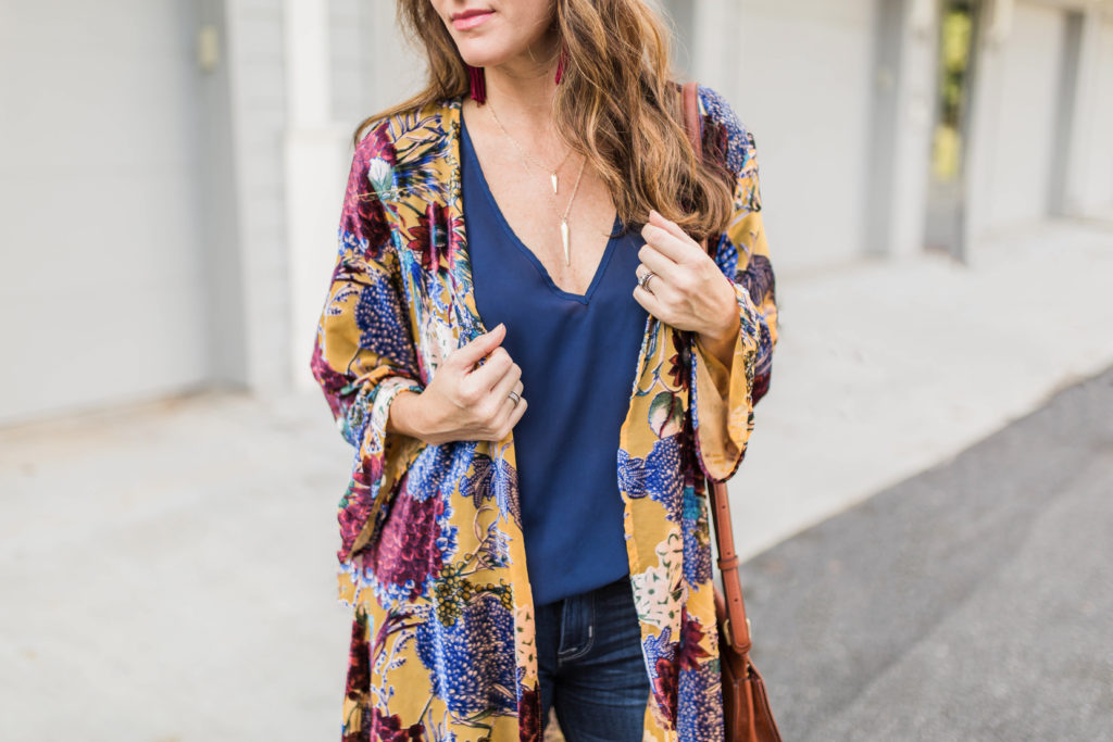 How to wear a layered gold necklace via Peaches In A Pod blog.