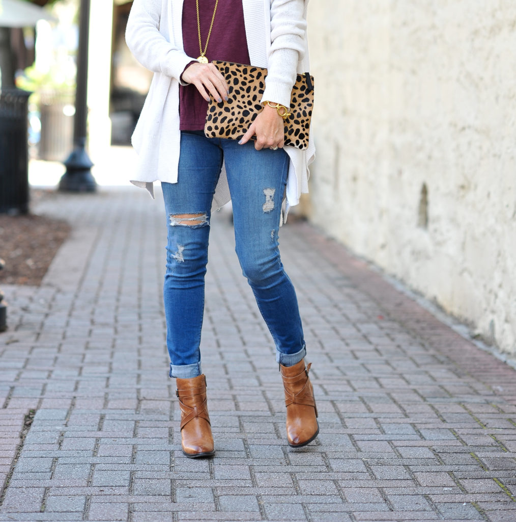 How to wear leather ankle boots via Peaches In A Pod blog.