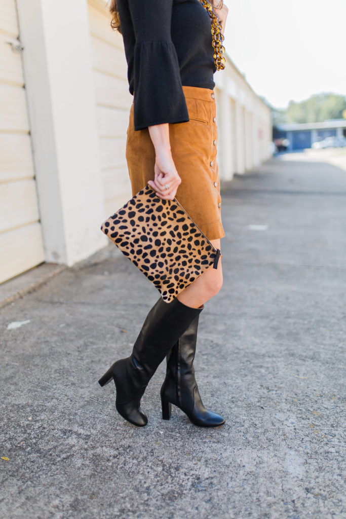 Tall black boots outfit idea via Peaches In A Pod blog.
