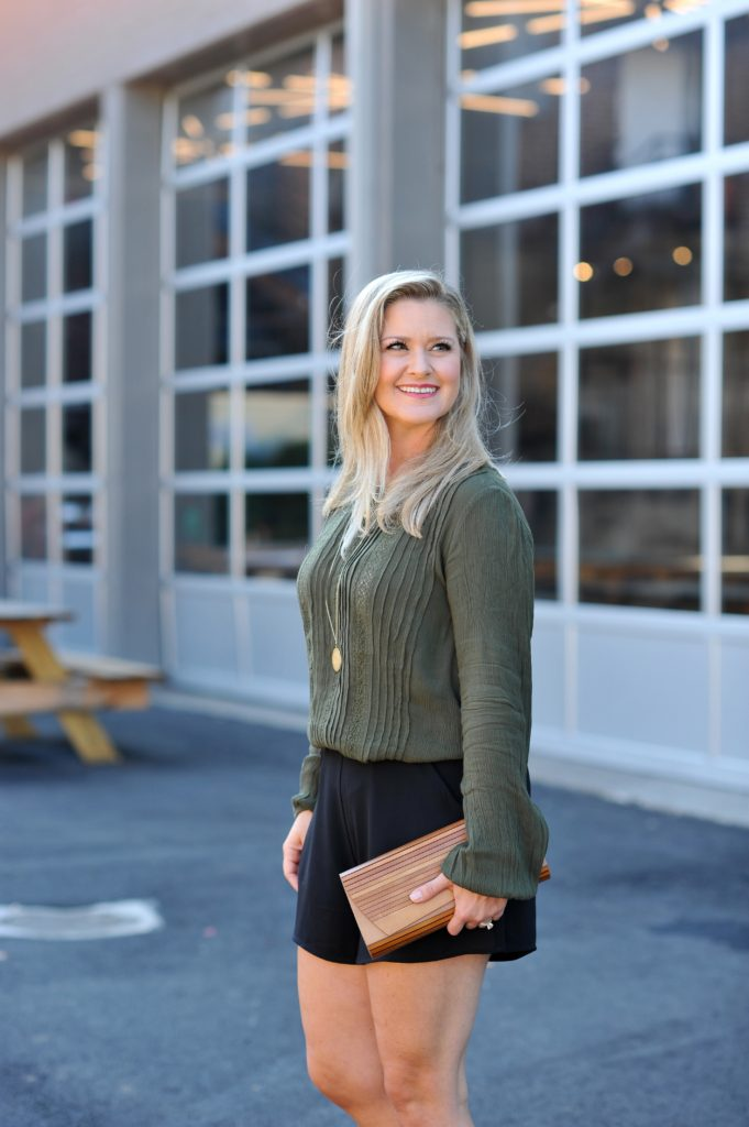 Cute olive green crepe top that is perfect for fall.