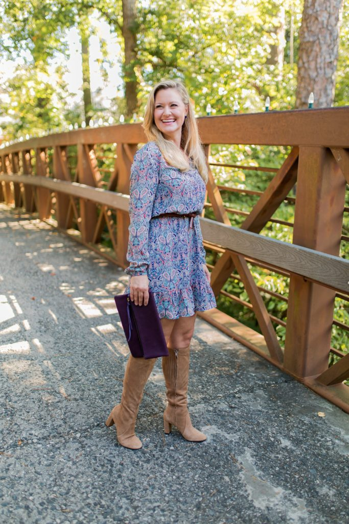 Cute dress with tall boots outfit that is perfect for Fall.