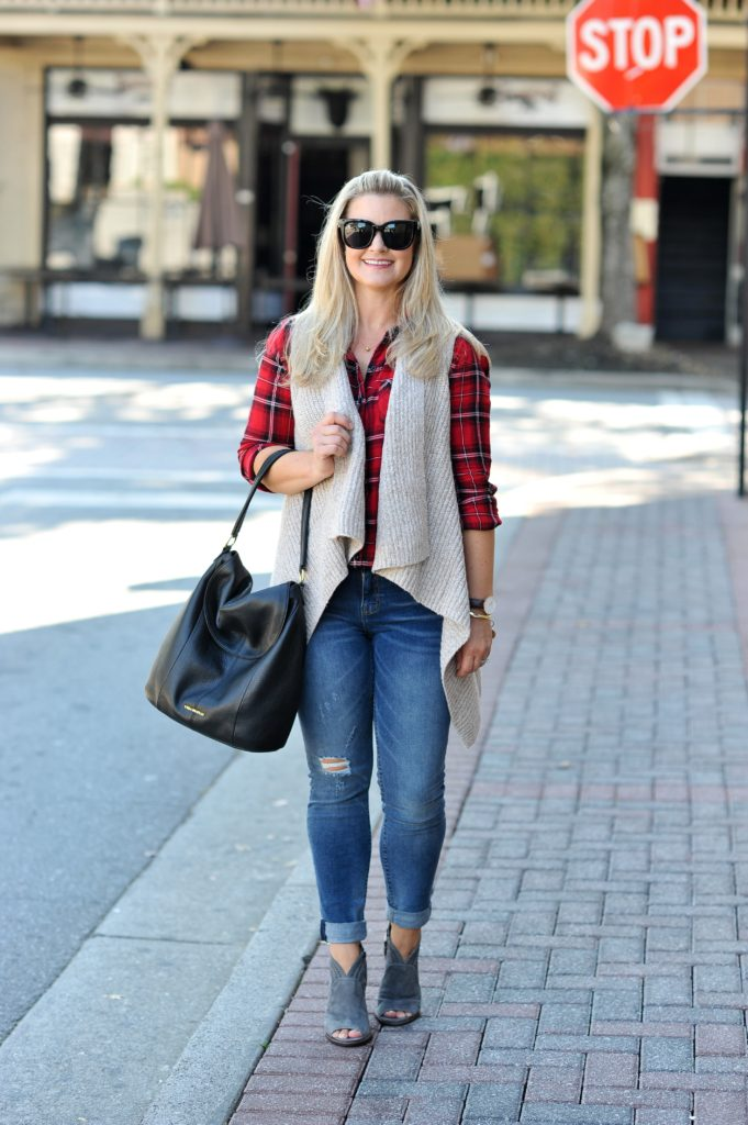 how to style a sweater vest with a plaid shirt to create a perfect fall casual outfit.